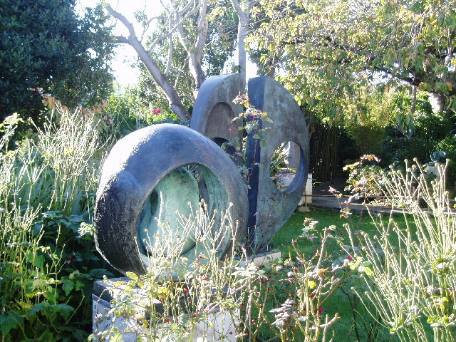 Barbara Hepworth's garden, now a sculpture garden at Trewyn Studios, now a sculpture garden. Image c/o Wikimedia.
