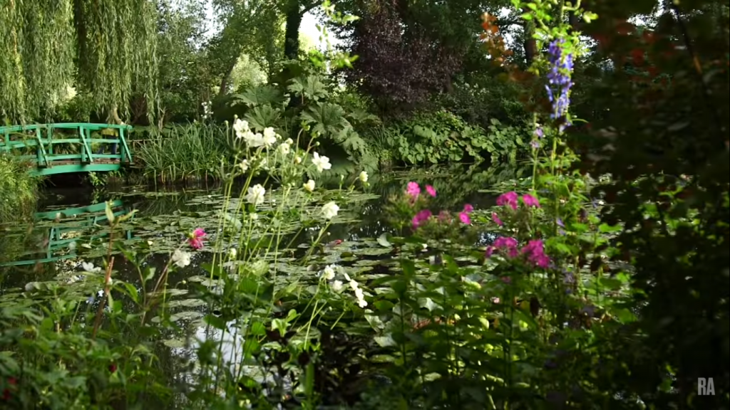 Claude Monet's garden at Giverny. Image screenshotted from this video from the Royal Academy of Arts.