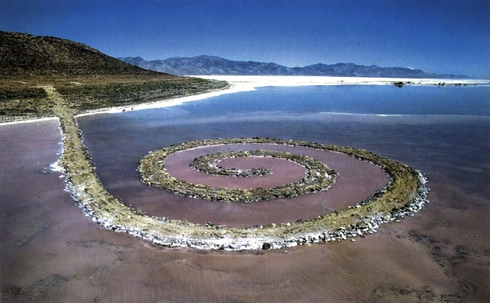 Robert Smithson's seminal work Spiral Jetty, featured in our new fifth-grade Environmental Art unit. Image c/o the Khan Academy