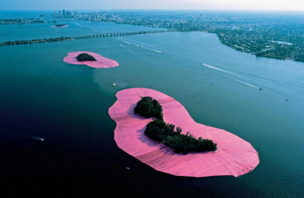 Christo and Jeanne-Claude's Surrounded Islands, featured in our new Environmental Art unit. Image c/o christojeanneclaude.net.