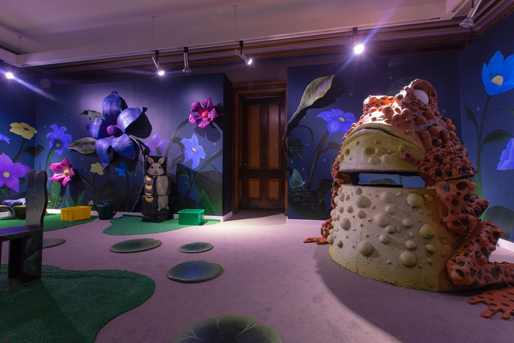 Molly Devlin and S. V. Williams' Toadtopia Art Spot at the Crocker Art Museum, open through August 25, 2019. Image c/o the Crocker's website.