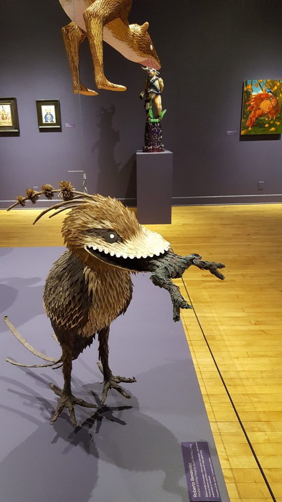 Benavidez's Piñatas of Earthly Delights: Bosch Bird No. 3 on display at the Riverside Art Museum.