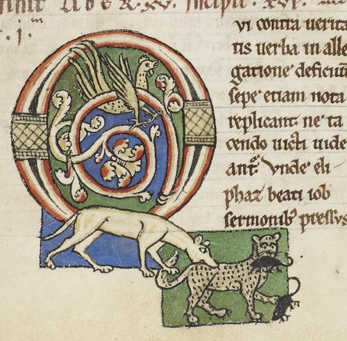 London, British Library, MS Harley 3053 f.56v Decorated Initial c. second half of the twelfth century, https://www.bl.uk/catalogues/illuminatedmanuscripts/record.asp?MSID=4076&CollID=8&NStart=3053&_ga=2.261488842.636800667.1564787493-2003165427.1559839113