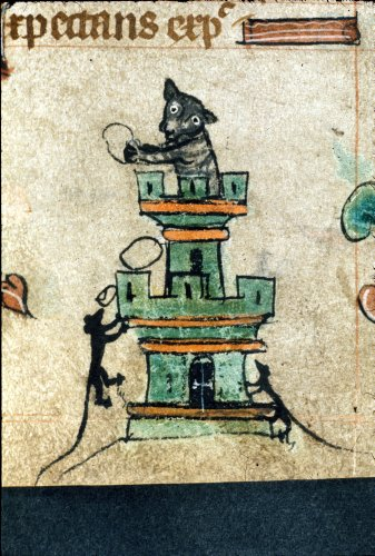 London, British Library, Harley MS 6563 f. 72r Cat in a Tower c. 1320-1330https://www.bl.uk/catalogues/illuminatedmanuscripts/record.asp?MSID=8836&CollID=8&NStart=6563&_ga=2.75149970.1453945175.1564677405-2003165427.1559839113