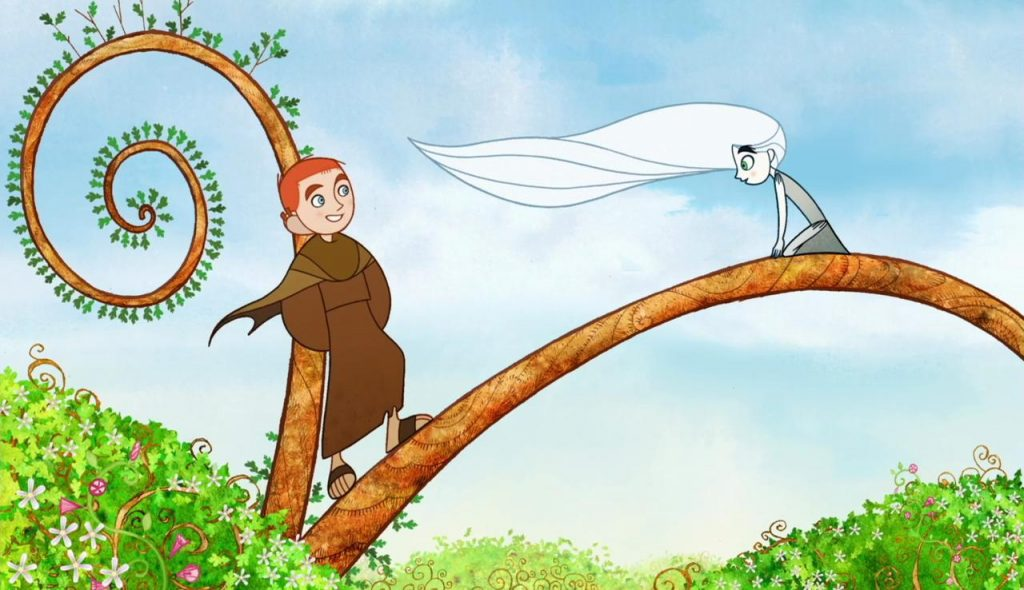 Brendan and Aisling above the forest in The Secret of the Kells. Image c/o IMDB.