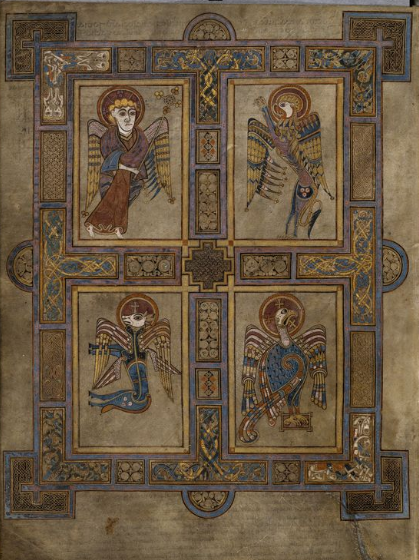 Symbols associated with the four Gospel authors. Screenshot. Dublin, Trinity College Dublin, IE TCD MS 58 f.27v c. 9th century https://digitalcollections.tcd.ie/home/index.php?DRIS_ID=MS58_003v. Copyright 2012 The Board of Trinity College Dublin.