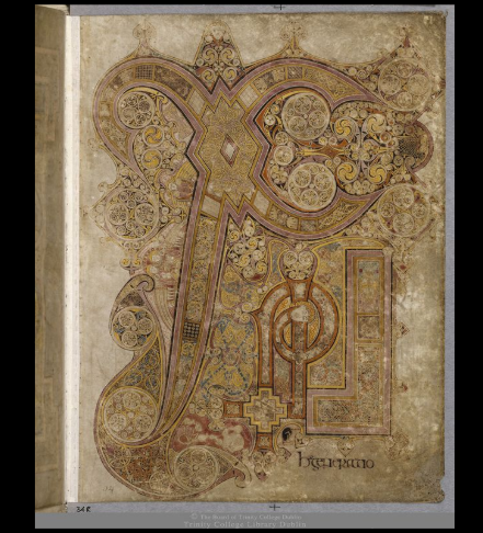 Screenshot of the Chi Ro page from the Book of Kells. Symbols associated with the four Gospel authors. Screenshot. Dublin, Trinity College Dublin, IE TCD MS 58 f.34r c. 9th century https://digitalcollections.tcd.ie/home/index.php?DRIS_ID=MS58_003v. Copyright 2012 The Board of Trinity College Dublin.