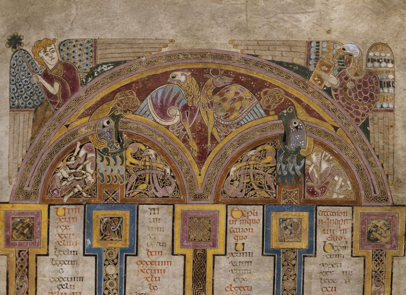 Screenshot of an inset from f.5r. Screenshot of the Chi Ro page from the Book of Kells. Symbols associated with the four Gospel authors. Screenshot. Dublin, Trinity College Dublin, IE TCD MS 58 f.5r c. 9th century https://digitalcollections.tcd.ie/home/index.php?DRIS_ID=MS58_003v. Copyright 2012 The Board of Trinity College Dublin.