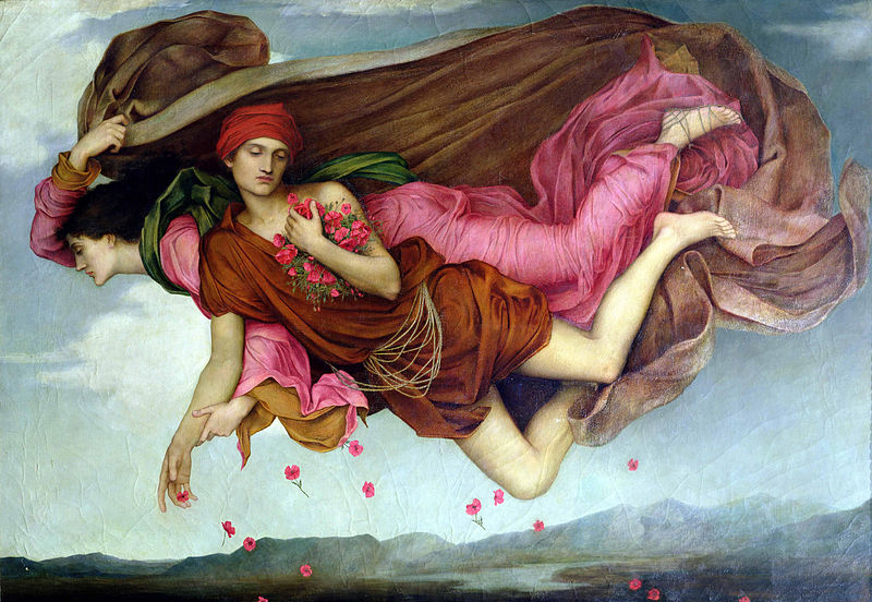 Two figures float through the air in Night and Sleep,by Evelyn De Morgan. Image c/o Wikimedia.
