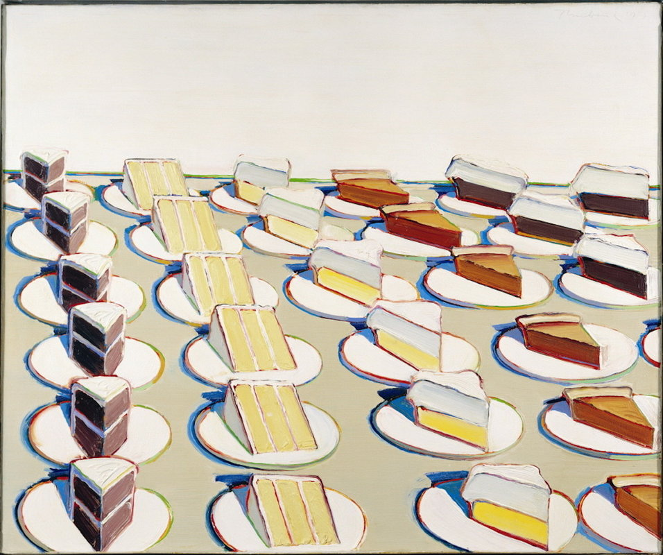 Wayne Thiebaud, Pie Counter, 1963. Image c/o Sartle. Four lines of slices of pie.