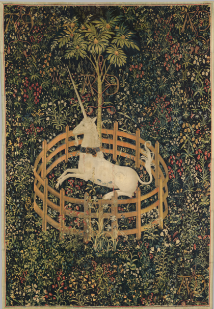 The Unicorn in Captivity, a medieval tapestry featuring a captured unicorn.