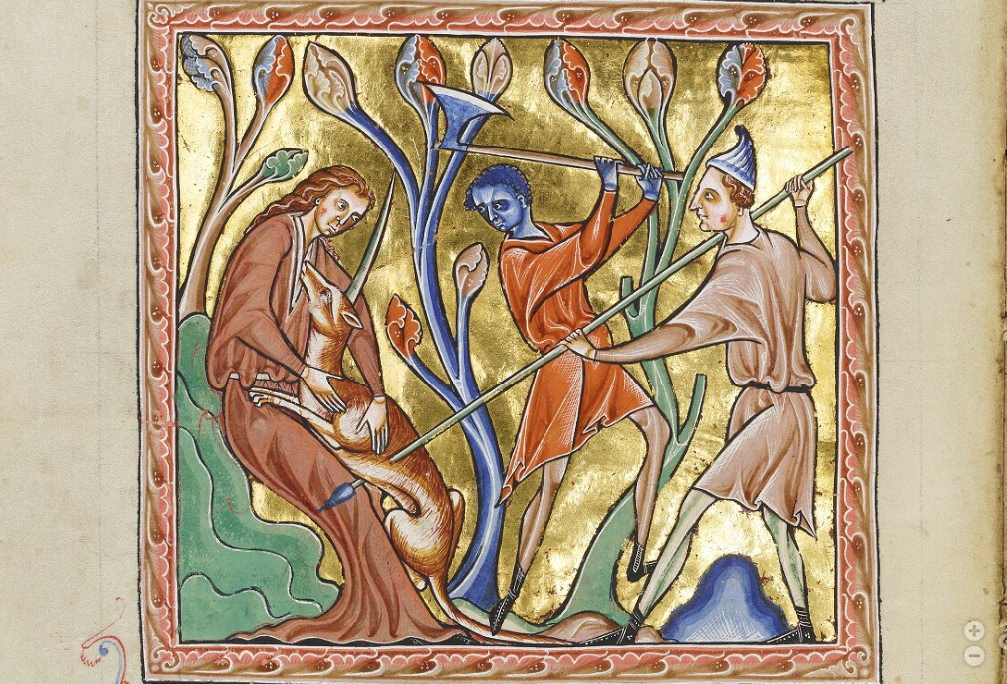 An image of a unicorn being slain by hunters from the medieval Ashmole Bestiary.