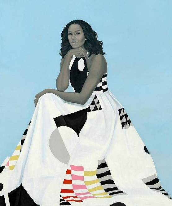 Amy Sherald's portrait of Michelle Obama. Original image c/o the New York Times.