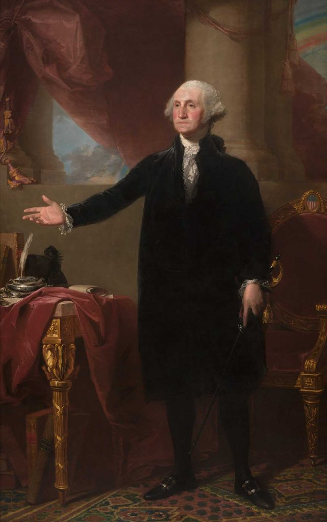 George Washington stands over his desk in this famous portrait by Gilbert Stuart.