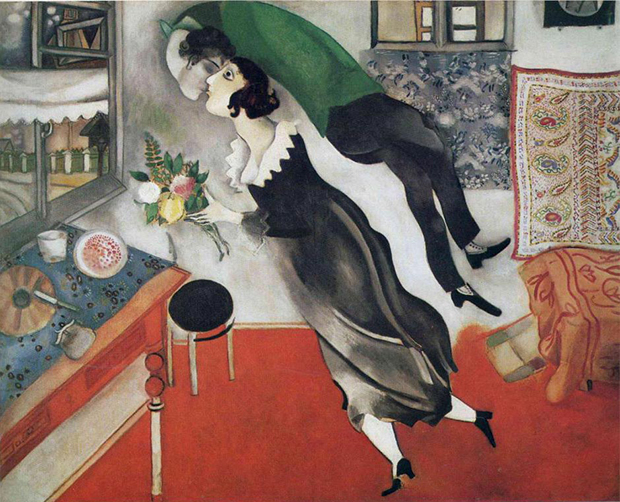 Marc Chagall's Birthday, featuring the artist hovering above his wife and kissing her.