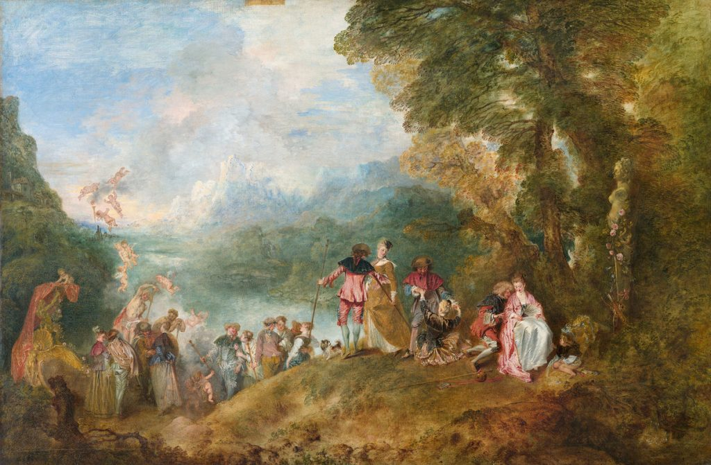 Watteau's Embarkation for Cythera, featuring couples gallivanting on a wooded isle.