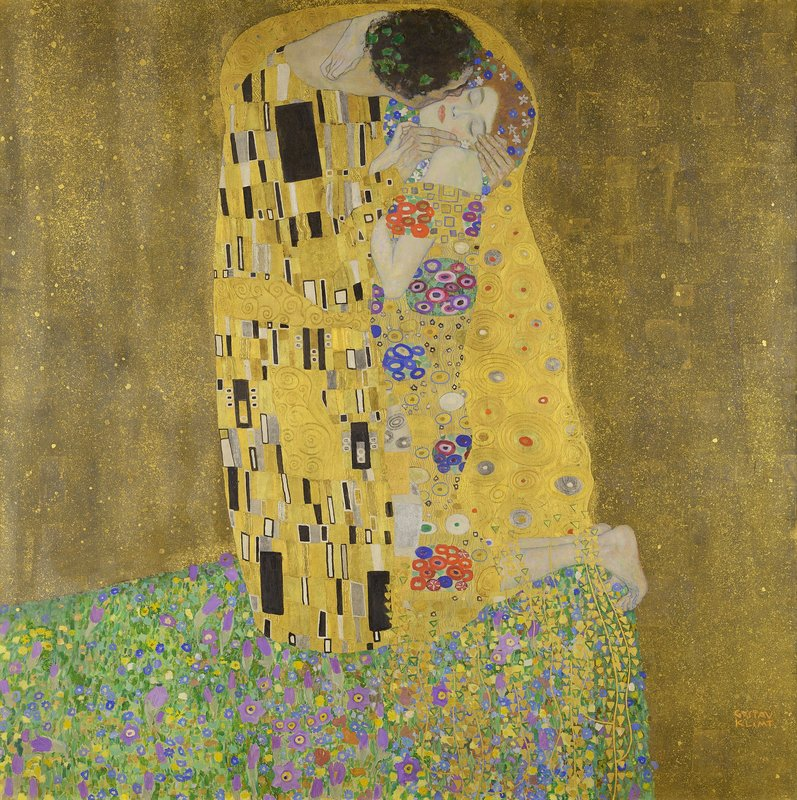 Gustav Klimt's The Kiss, featuring a couple in an embrace.
