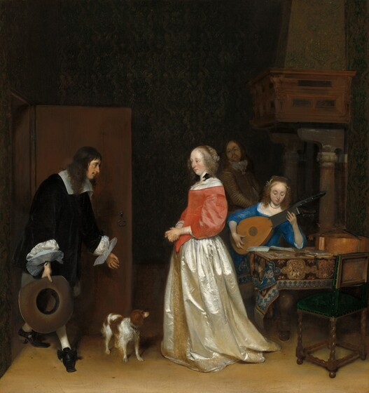 The Suitor's Visit by ter Borch, featuring a young man bowing in deference to a woman he's courting.