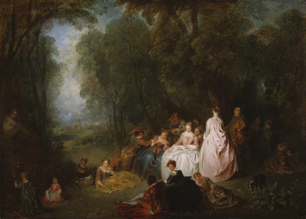 Fête champêtre (Pastoral Gathering) - Jean-Antoine Watteau. Image c/o Chicago Art Institute. A group of picnickers repose in a forest.