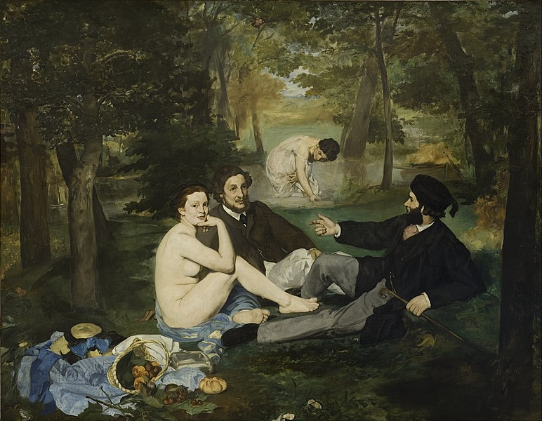 Déjeuner sur l'herbe, Edouard Manet, 1863. Image is public domain c/o Wikimedia. Image features two men picnicking in a park accompanied by a nude woman and another mysterious woman in the background.