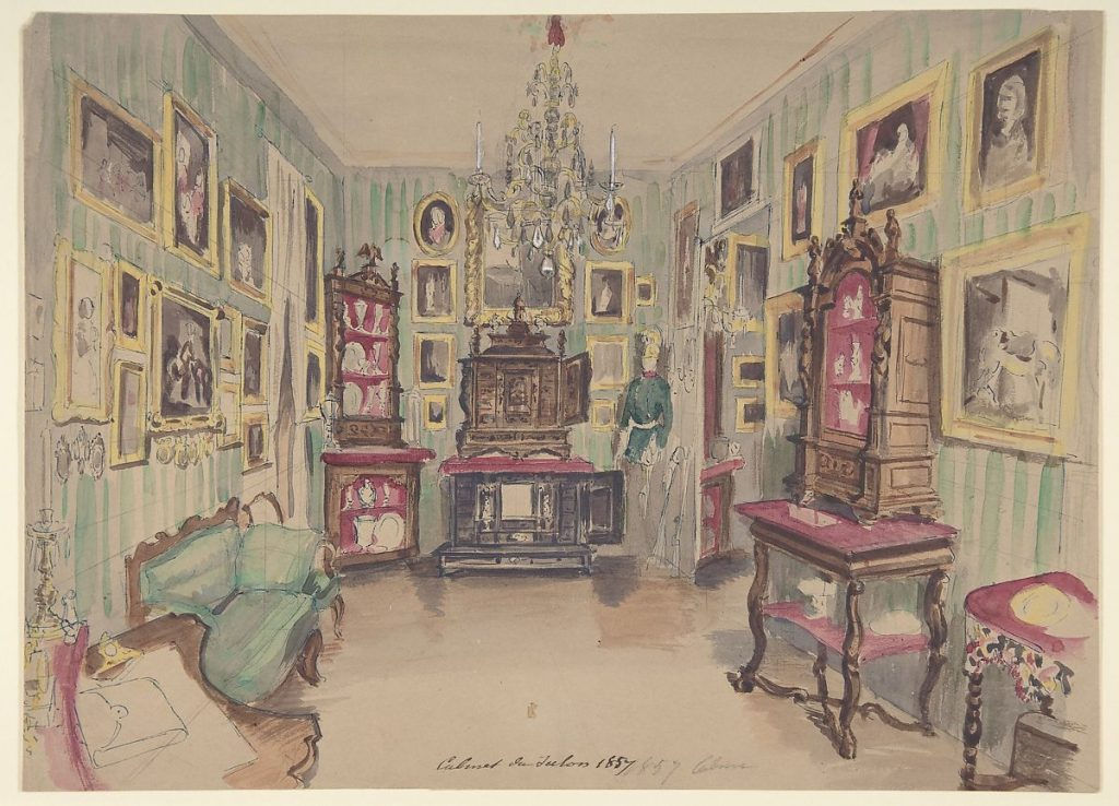 Drawing of an Interior: Cabinet du Salon, Anonymous Artist, c. 19th century. Image c/o the Met. Features an interior, likely of a home, with walls covered in art.