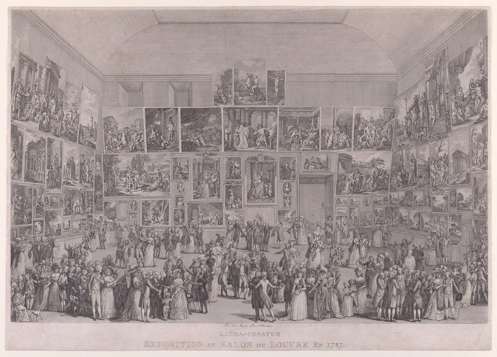 Exposition au Salon du Louvre en 1787, Pietro Antonio Martini, 1787. Image c/o the Met. This etching and engraving features many viewers thronging a salon with paintings lining the walls.