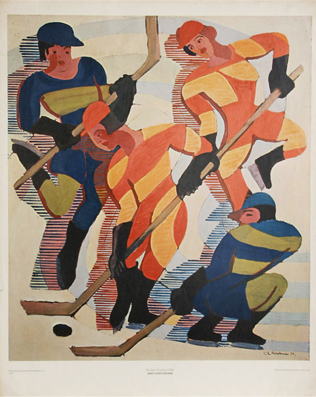 Hockey Players, Ernst Kirchner, c. 1934. Image c/o Art Docent Program. Four men play hockey, wearing contrasting colors.