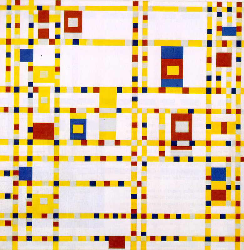 Broadway Boogie Woogie, Piet Mondrian, c. 1942-43. Image c/o Art Docent Program. Painting features a grid of yellow, red, and blue squares of varying size, an abstraction of the title.