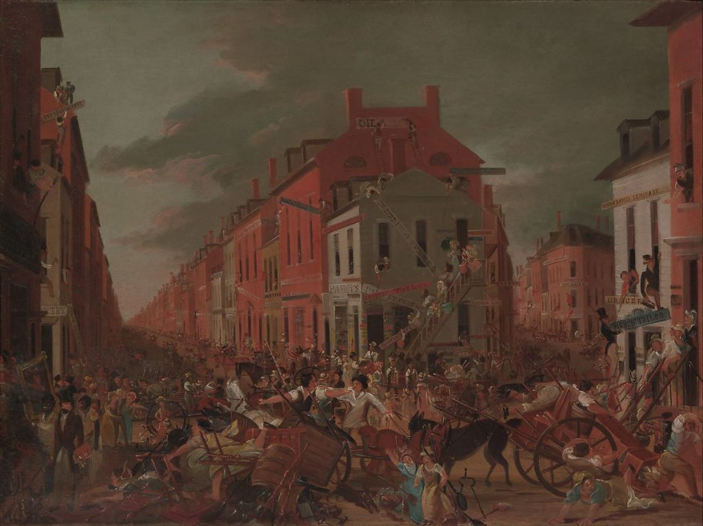 Moving Day (in Little Old New York), Unknown Artist, c. 1827. Image c/o the Met. Hundreds of people line the streets as they move out of New York buildings.