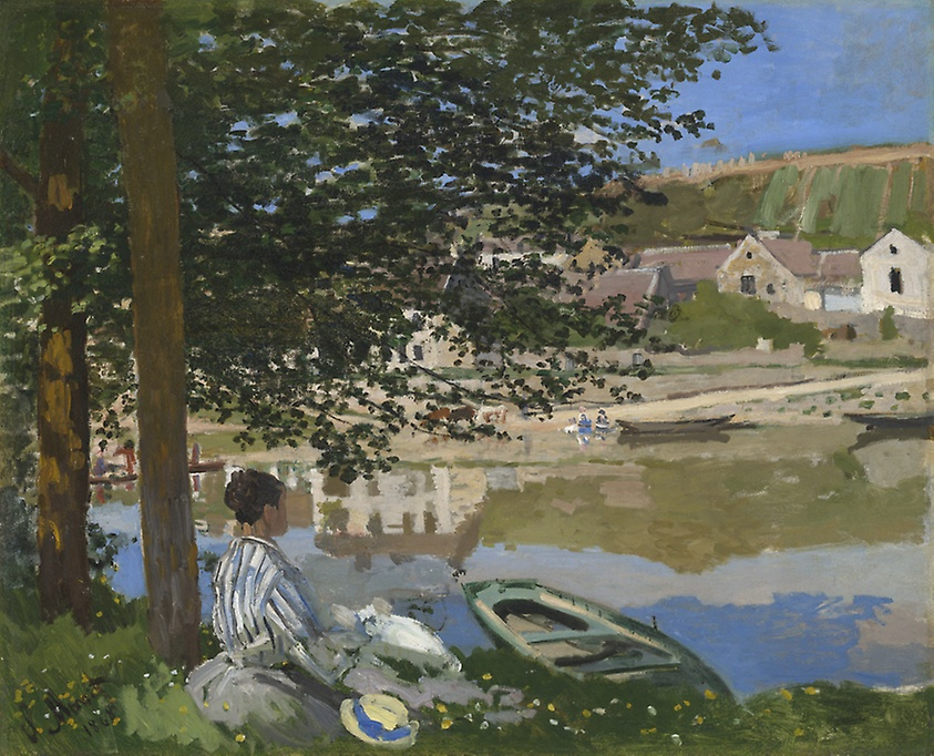 On the Bank of the Seine, Bennecourt, Claude Monet, c. 1868. Image c/o the Art Institute of Chicago. Painting features a woman looking out over the Seine under a tree.