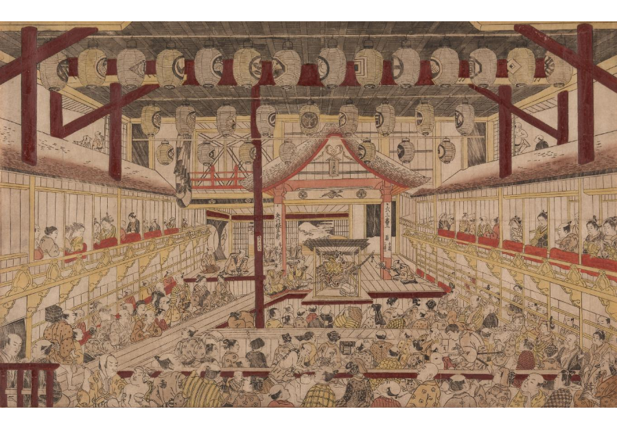 Perspective View of the Interior of the Nakamura Theater with Ichikawa Ebizo II as Yanone Goro,  Okumura Masanobu, 1740