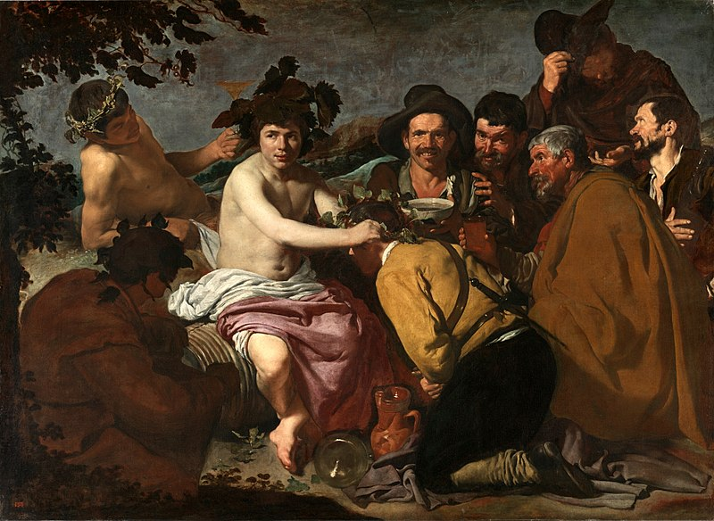 The Triumph of Bacchus (Los Borrachos), Diego Velázquez, c. 1628-29. Image is public domain, c/o Wikimedia. Painting features Bacchus and peasants picnicking in the countryside.