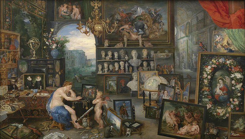 Allegory of Sight, Jan Bruegel and Peter Paul Rubens, c. 1617-1618. Image c/o Wikimedia. Two figures are surrounded by paintings and sculptures.