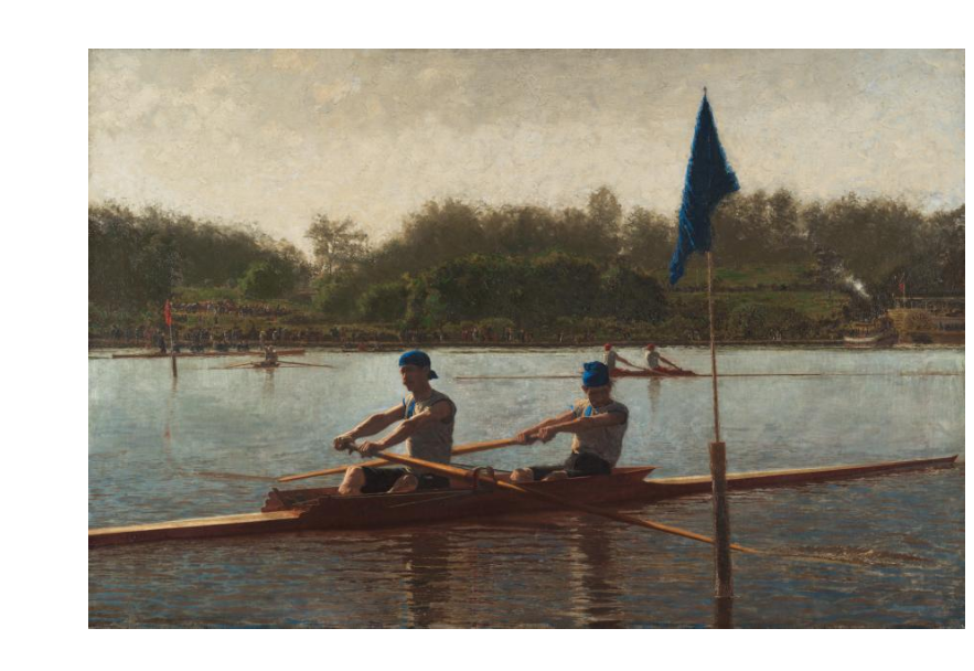 The Biglin Brothers Turning the Stake, Thomas Eakins, 1873. Image c/o Cleveland Museum of Art. Two men row down a tranquil body of water.