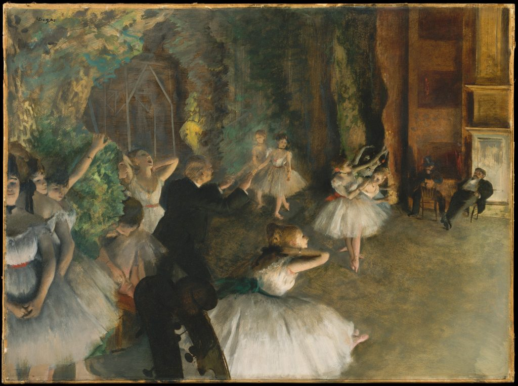 Edgar Degas, The Rehearsal of the Dancers Onstage. c. 1874. Image c/o the Met.