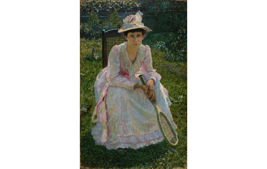 Mary Holland Bacher, Otto H. Bacher, 1891. Image c/o Cleveland Art Museum. A woman sits with a tennis racket.