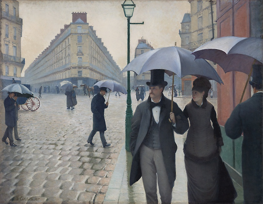 Paris Street; Rainy Day, Gustave Cailleboitte, 1877. Image c/o Art Institute of Chicago. A couple walks down a rainy Paris street.