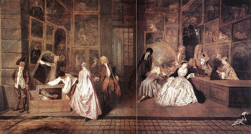 The Signboard of Gersaint, Jean-Antoine Watteau, c. 1721. Image c/o Wikimedia. Painting depicts a large gallery filled with paintings with patrons looking at artwork.