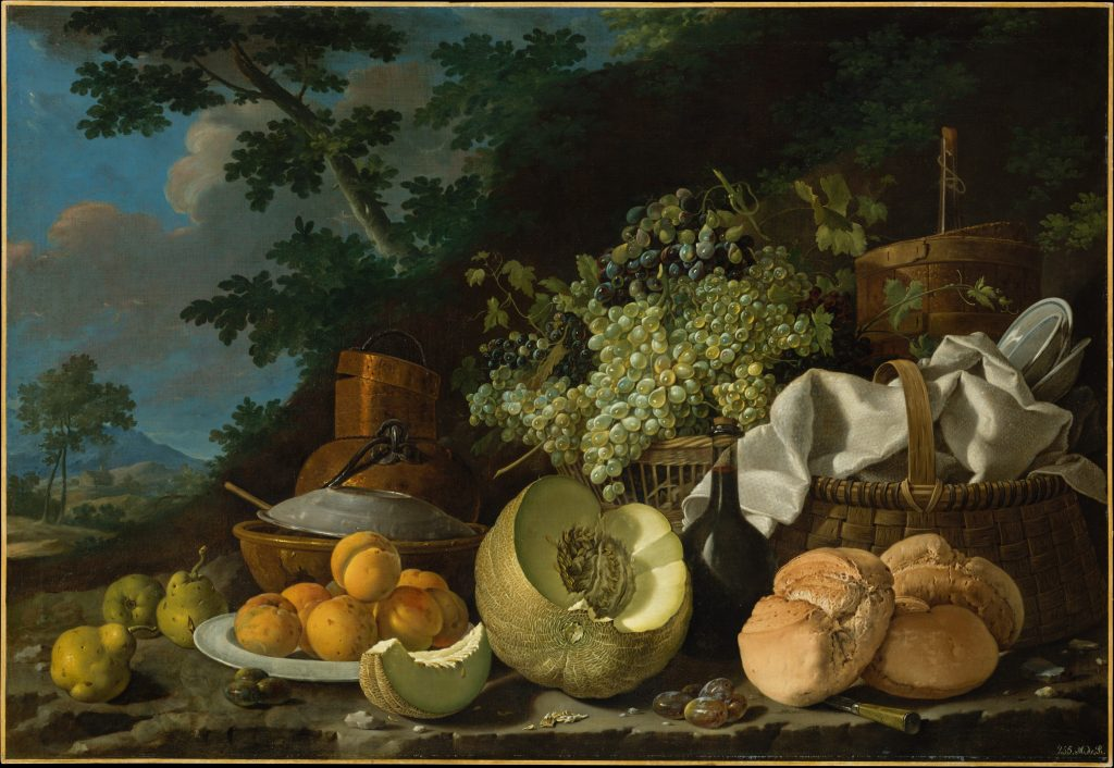 The Afternoon Meal (La Merienda), Luis Meléndez, c. 1772. A still life painting of a variety of fruits and food.