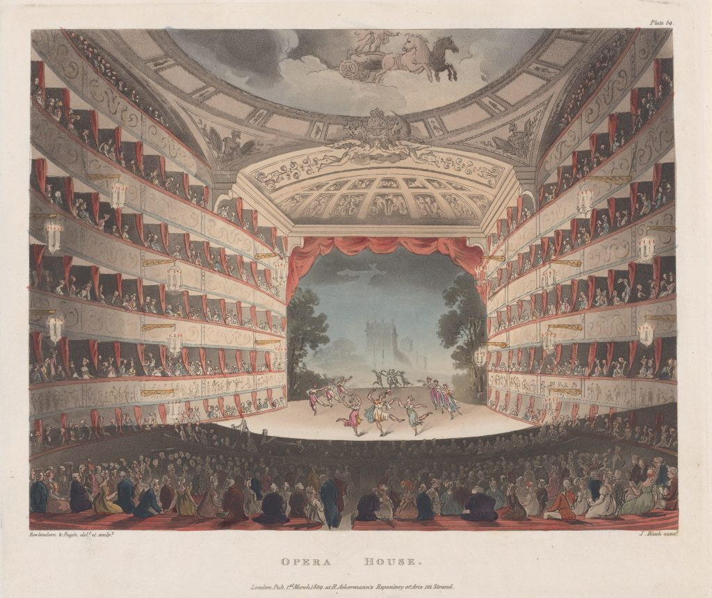 Opera House, Thomas Rowlandson, 1809