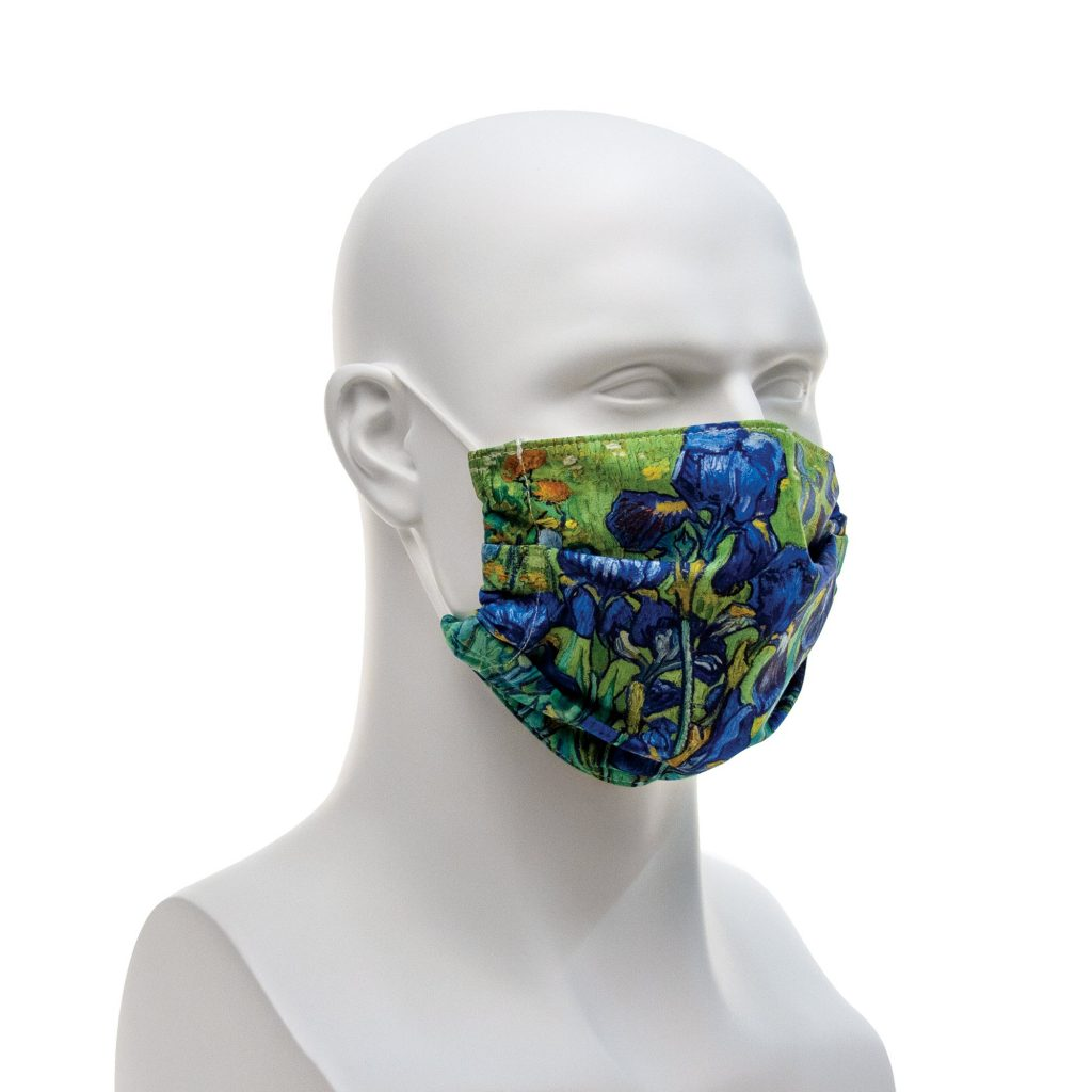 A face mask featuring van Gogh's Irises painting.