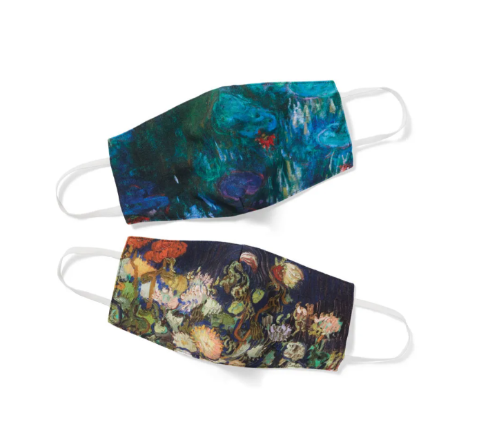 The Floral Impressions face mask set from the Met, featuring two creative face masks with floral art from Monet and van Gogh.
