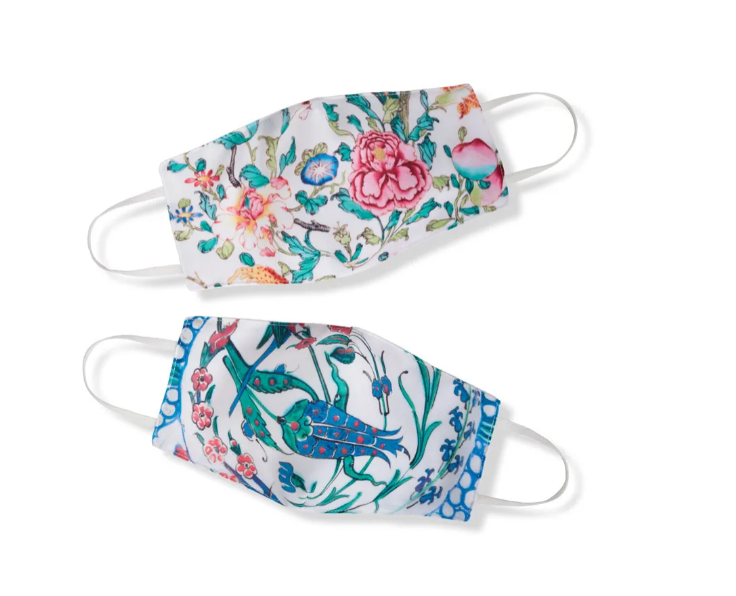 Two face masks featuring floral designs.