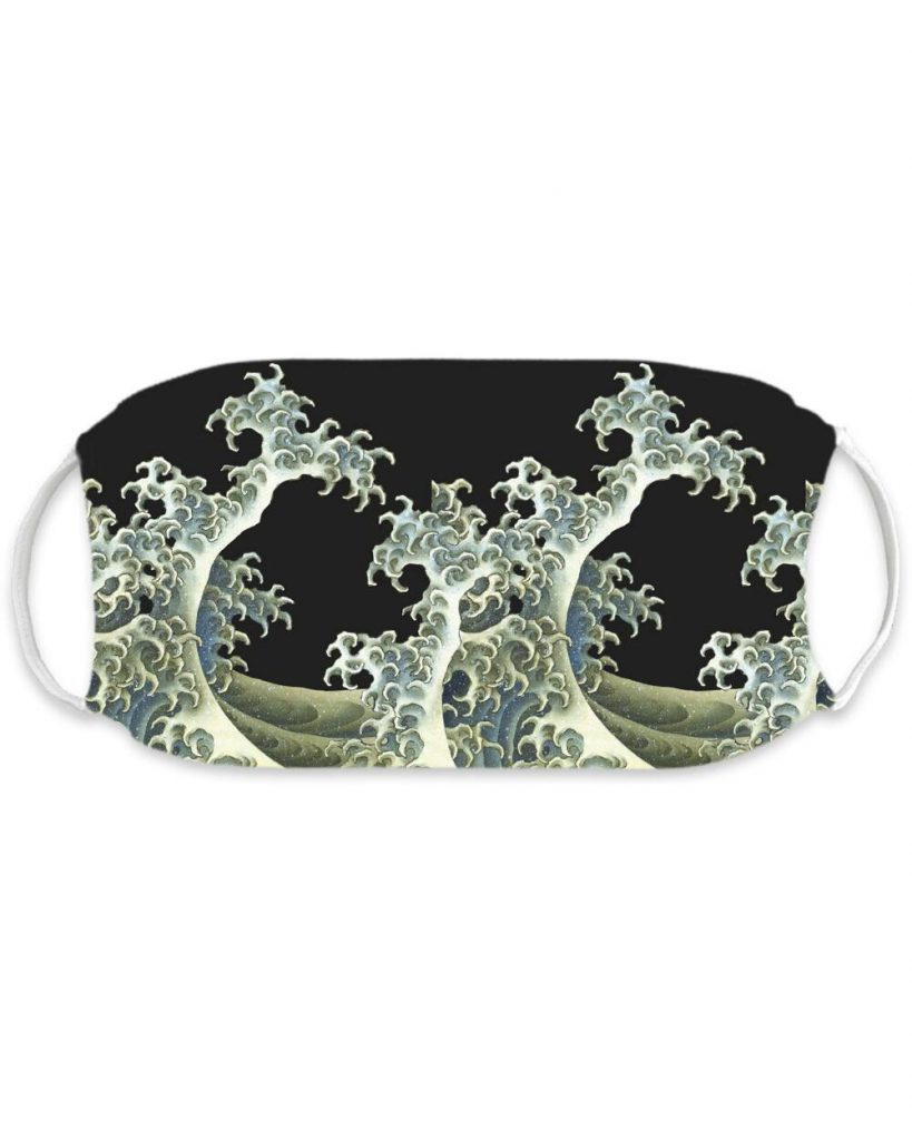 A face mask featuring Hokusai's Breaking Waves as its design.